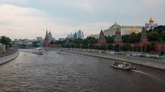 Moscow river with the Kremlin on background and ships Stock Footage