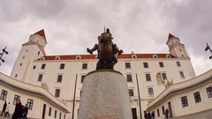 Statue in front of the castle Stock Footage