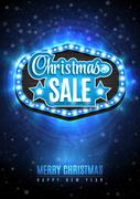 Light frame with glowing lights, garlands of blue the words Christmas Sale Stock Illustration