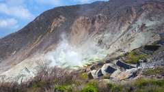 Active sulphur vents of Owakudani, Japan Stock Footage