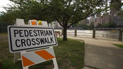 Pedestrian Crosswalk Sign Stock Footage