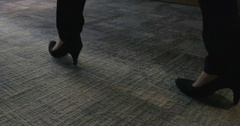 4K Business man & woman in British office meet & shake hands Stock Footage