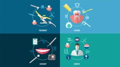 Dental office video concepts. Dentist practice animations Stock Footage