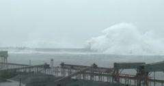 Hurricane Storm Surge Waves Swamp Port Sea Wall Stock Footage