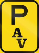 Temporary road sign used in the African country of Botswana - Parking for abn Stock Illustration
