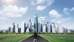 Businesswoman standing on high way, road. build buildings. makes cityscape. Stock Footage