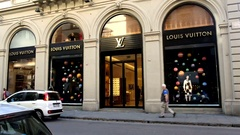 Louis Vuitton store. Via Tornabuoni, Florence. Italy. Stock Footage