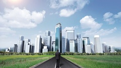Businessman standing on high way, road. build buildings. makes cityscape. Stock Footage