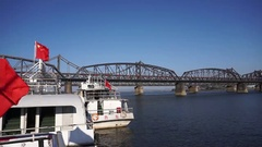 Cruise boats beside Yalu river Stock Footage