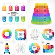 Vector circle infographic set. Business diagrams, arrows graphs, linear Stock Illustration