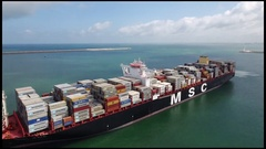 MSC Maya container ship at port Stock Footage