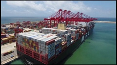 MSC Maya container vessel at quayside unloading cargo Stock Footage