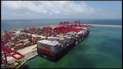 MSC Maya Container ship - reverse camera movement of quayside Stock Footage