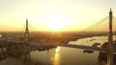 Bhumibol bridge crossing chaopraya river bangkok thailand Stock Footage
