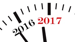 Animation of clock countdown from year 2016 to 2017 Stock Footage