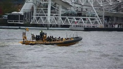Motorboat on Thames River in London Stock Footage