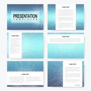 Blue set of vector presentation templates with molecule structure. Business and Piirros