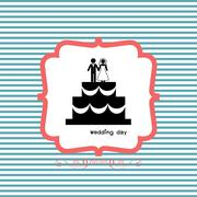 Bride and groom icon for wedding card Stock Illustration