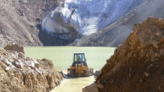 Lake Glaciers Tractor 4K Stock Footage