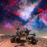 Curiosity rover exploring the surface of Mars. Kuvituskuvat