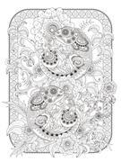 Chameleon adult coloring page Stock Illustration