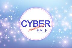 Cyber Monday Sale background. Promotional banner design. Graphic abstract Stock Illustration