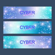 Cyber Monday Sale banner design. Graphic abstract background communication Stock Illustration