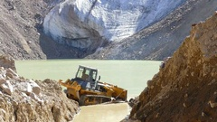 Mountains Lake Glaciers Tractor 4K Stock Footage
