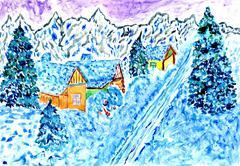 Winter Landscape Art Stock Illustration