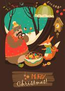 Cute bear and fox celebrating Christmas in den Stock Illustration