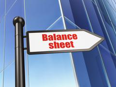 Money concept: sign Balance Sheet on Building background Stock Illustration