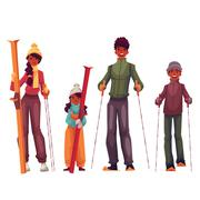 African family portrait, father, mother, daughter and son with ski Stock Illustration