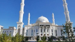 Sights of Astana - Hazrat Sultan Mosque, Astana, Kazakhstan Stock Footage
