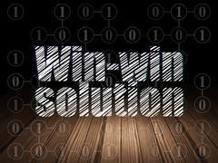 Finance concept: Win-win Solution in grunge dark room Stock Illustration