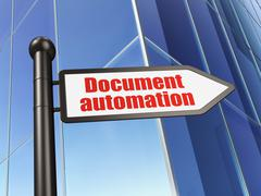 Business concept: sign Document Automation on Building background Stock Illustration