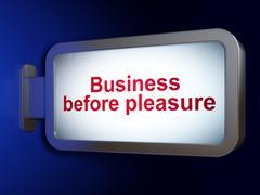 Finance concept: Business Before pleasure on billboard background Stock Illustration