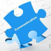 Advertising concept: Communication on puzzle background Stock Illustration