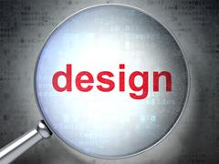 Marketing concept: Design with optical glass Stock Illustration