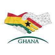 Handshake logo made from the flag of Ghana. Stock Illustration