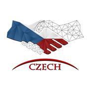 Handshake logo made from the flag of Czech. Stock Illustration