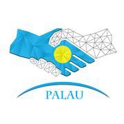 Handshake logo made from the flag of Palau. Stock Illustration