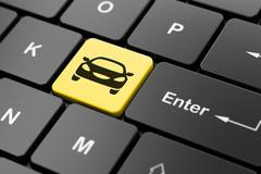 Tourism concept: Car on computer keyboard background Stock Illustration