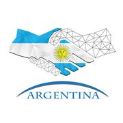 Handshake logo made from the flag of Argentina. Stock Illustration