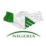 Handshake logo made from the flag of Nigeria. Piirros
