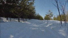 Snowmobile rides along the forest at low speed. Winter. Stock Footage