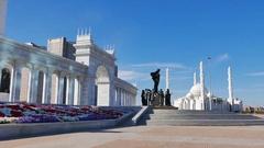 Astana, Kazakhstan - August 12, 2016: Kazak eli Stella. Independent symbol of Stock Footage