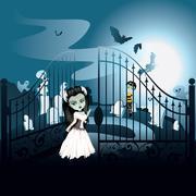 Spooky Halloween Cemetery Stock Illustration