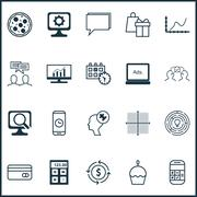 Set Of 20 Universal Editable Icons. Can Be Used For Web, Mobile And App Desig Stock Illustration