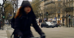 Paris avenue with busy traffic and police officers Stock Footage