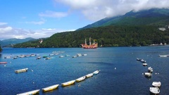 Pirate ship and Torii gate on Ashi lake Stock Footage